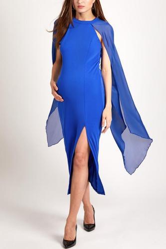 Maternity Cape Sleeve High Slit Plain Chiffon Maxi Dress