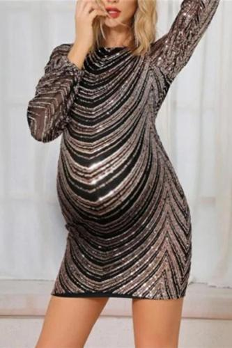 Maternity Sexy Round Neck Backless Striped Dress