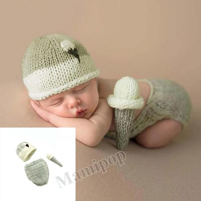 2020 New  newborn photography props hand wool three piece cute baby suit