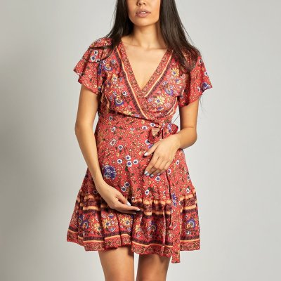 Maternity V Neck Printed Short Sleeve Skater Dress