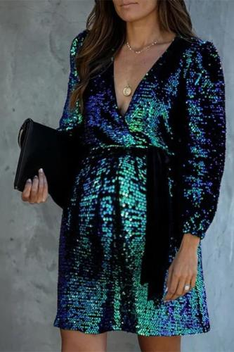 Maternity v-collar long sleeved color block dress