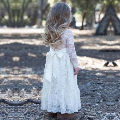 2020 autumn children's dress lace hollow long sleeve girl's dress
