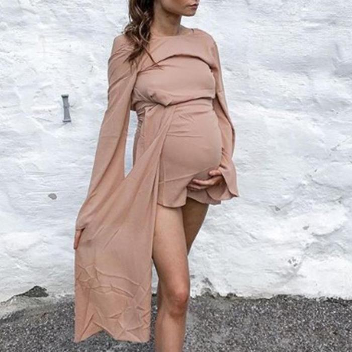 Maternity Fashion Round Neck Flared Sleeves Solid Color Stitching Dress