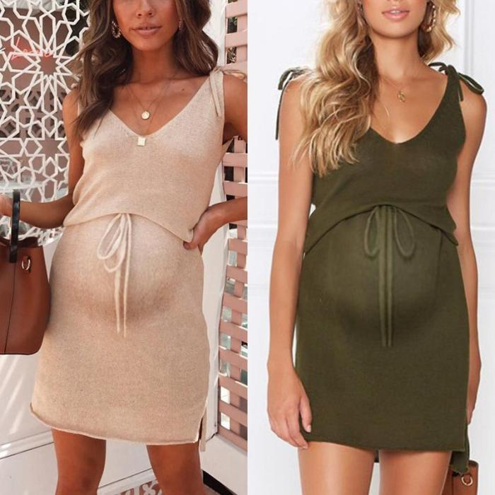 Maternity Plain V-Neck Casual Above Dress