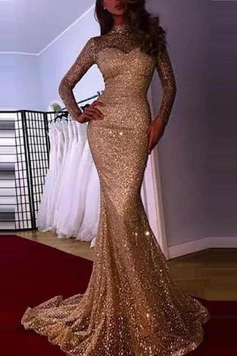 Glamorous Sequins Long Sleeve Evening Dress