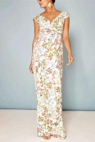Maternity Commuting Deep V Neck Floral Printed Dress