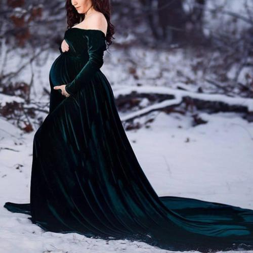 Maternity Elegant Off Shoulder Long Sleeve Dress