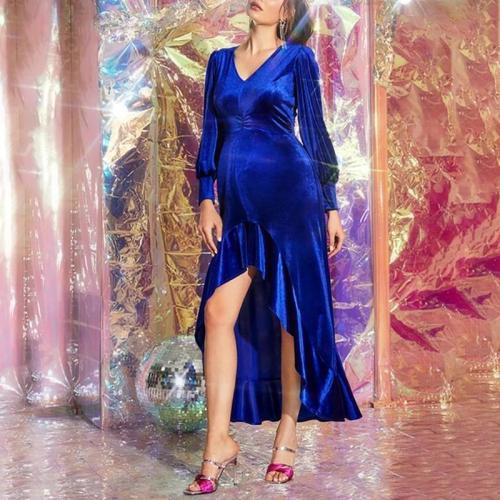 Maternity Elegant V-neck Solid Ruffle Dress