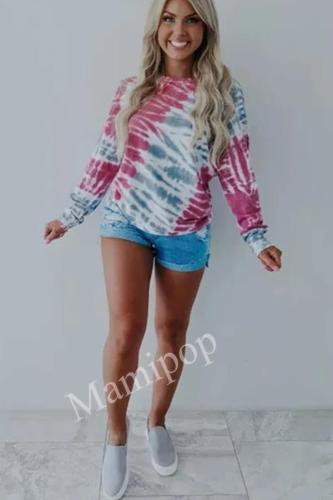 Women's New Rose Blue Tinted Printed Long-sleeved Top