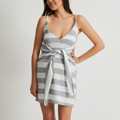 Maternity V-Neck Strapless Back Stripe Dress