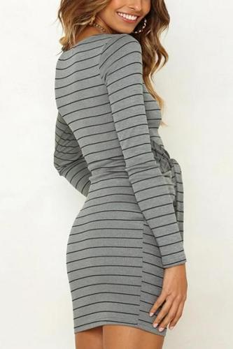 Maternity Leisure Round Collar Striped Long Sleeve Dress