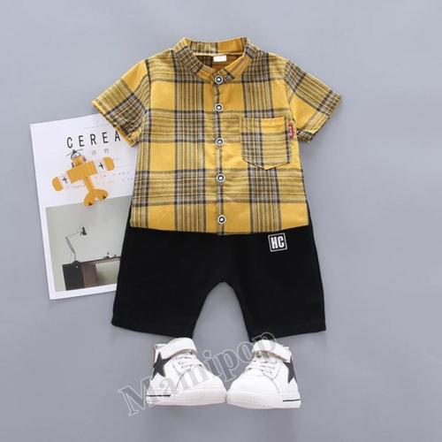 Boys Plaid Shirt Short Sleeve Garment Two-Piece 2020  Children's Wear