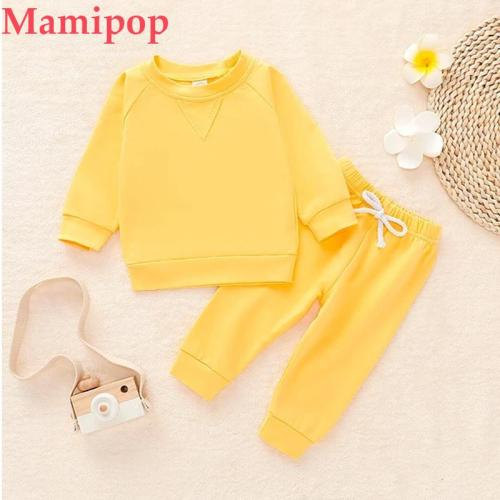 Toddler Kids Boys Girls Long Sleeve Solid Sweatshirt Pullover Tops Pants Outfits Set