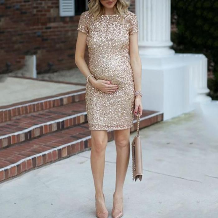 Maternity Solid Color Sequin Short Sleeve Dress