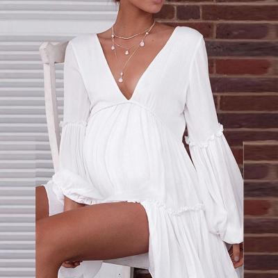 Maternity Pure Color V Collar Long Sleeved Lantern Sleeve Dress