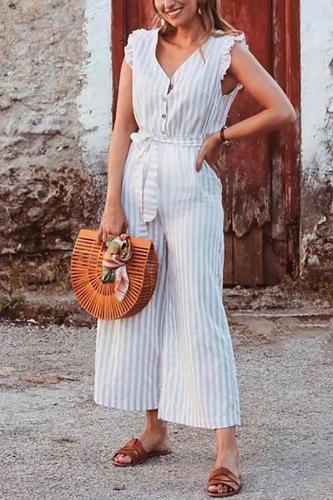 Maternity Summer Striped Sleeveless Jumpsuit