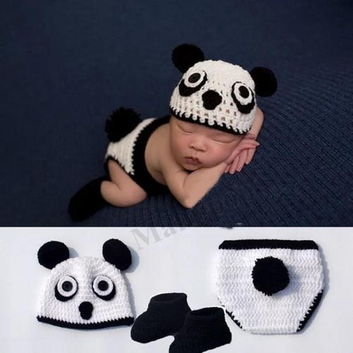 Newborn Cartoon Panda Hats Baby Knit Crochet Baby Photography Props
