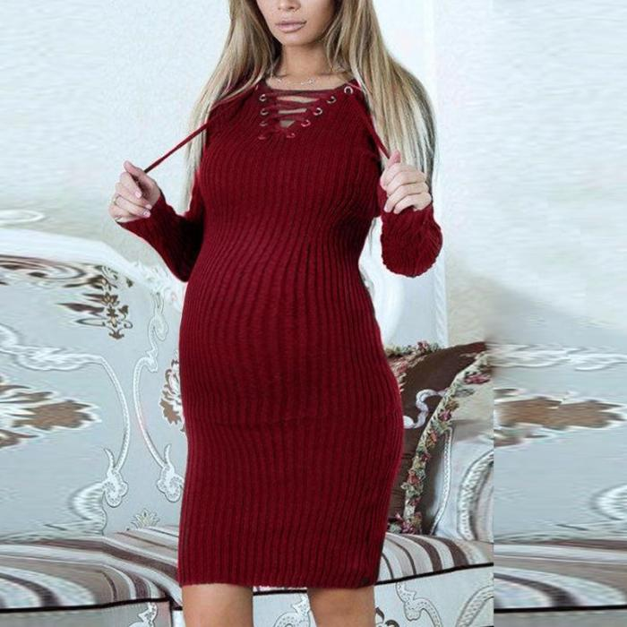 Maternity Long Sleeve Tie Collar Pure Color  Dress