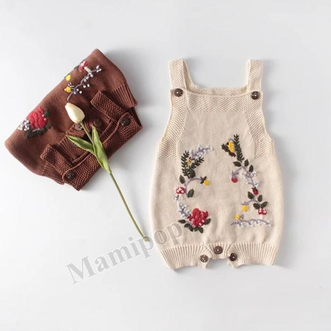 Spring Squirrel Hand Embroidered Knitting Wool One Piece Creeper