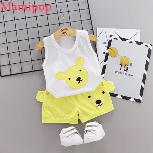 Baby KidS Boys  Cartoon Bear Print Tops Shorts Outfit Set meisjes kleding zomer
