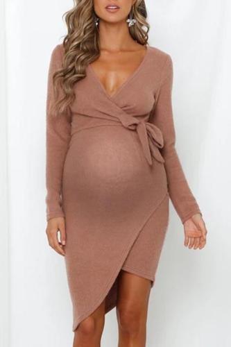 Maternity fashion wrap deep v belted midi knit dress