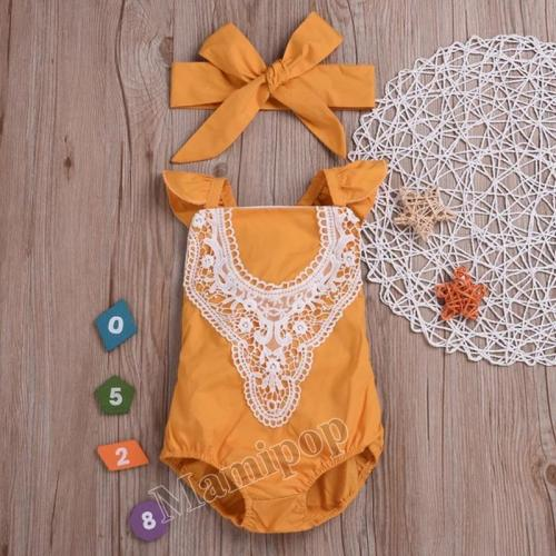 Childrenswear Lace Romper + Bow Headscarf a-Piece Suit