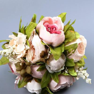 Artificial Flower Rose Holding Wedding Bouquet Silk Flower for Home Party Table Decoration