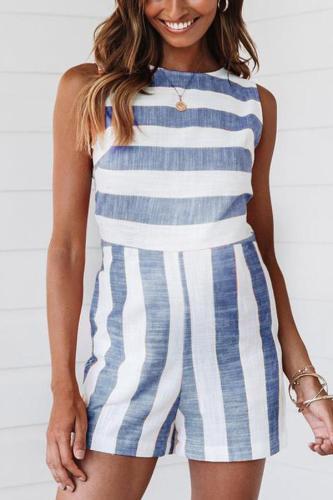 Maternity Stripe Vest Jumpsuits