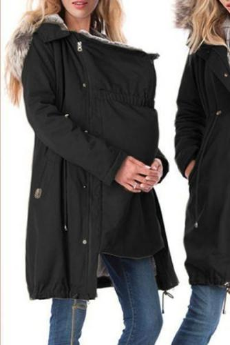 Maternity Kangaroo Stitching Fur Collar Hoodie Jacket