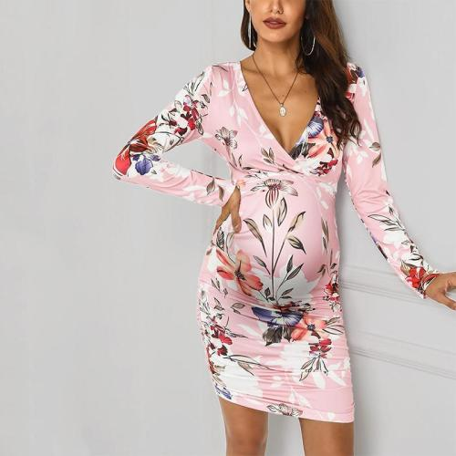 Maternity V-neck Floral Printed Dress