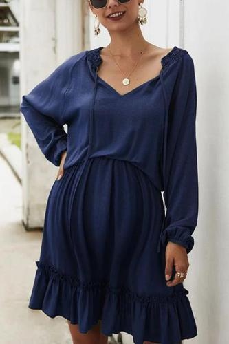 Maternity Fashion Ruffled Solid Long-Sleeved Dress