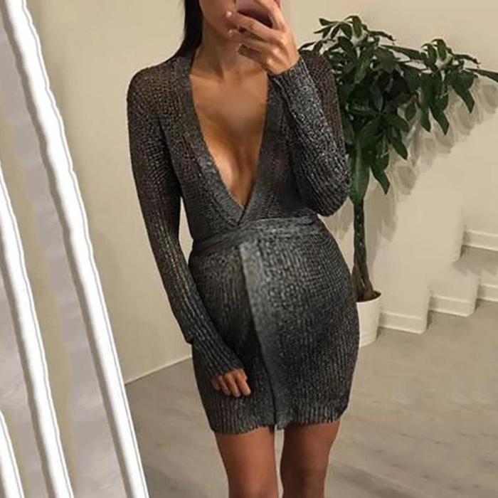 Maternity V Neck Belted Dress
