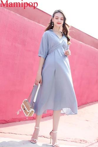 Pregnant Women  Turn Down Collar Short Sleeve Mid Calf Brief Dress