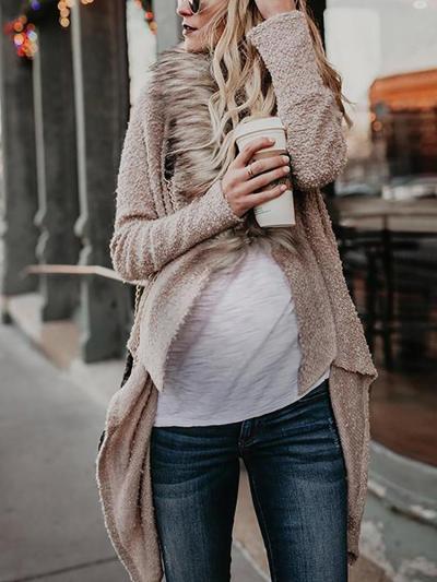 Maternity Pure Color Long Sleeve Irregular Cardigan