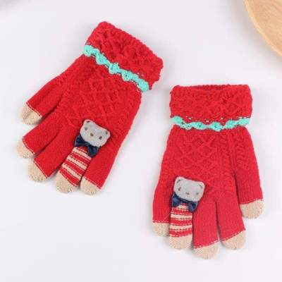 Children Gloves Warm Knitted Gloves with Bear Bow (5-10 Years)