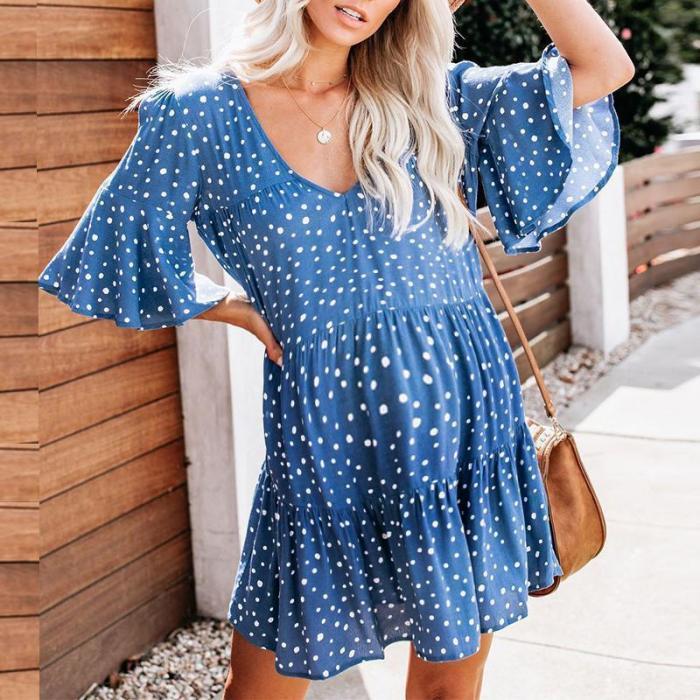 Maternity Casual V Neck Dots Layered Skirt