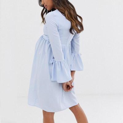Maternity Casual Round Neck Long Sleeve Plain Dress