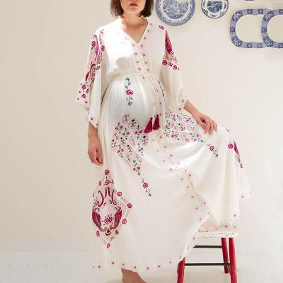 Maternity v-neck Printed casual dress