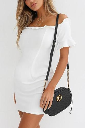 Maternity One-Shoulder Short-Sleeved Bag Hip Dress
