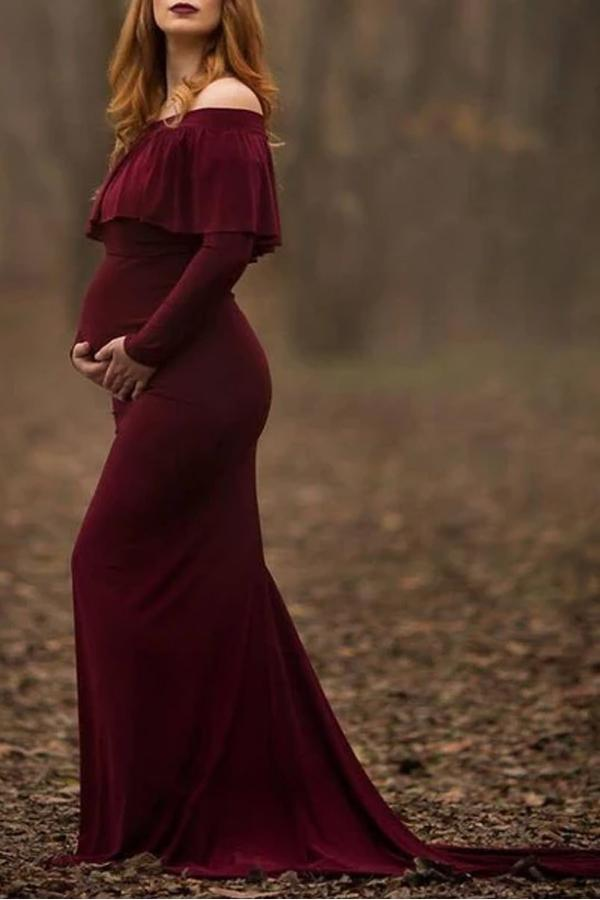 Maternity Flounced Trailing Dress