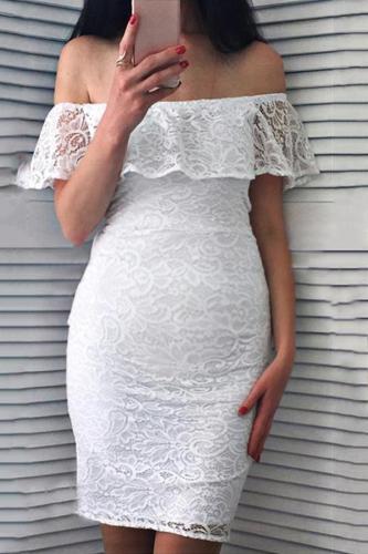 Maternity Plain Off Shoulder Lace Bodycon Dress