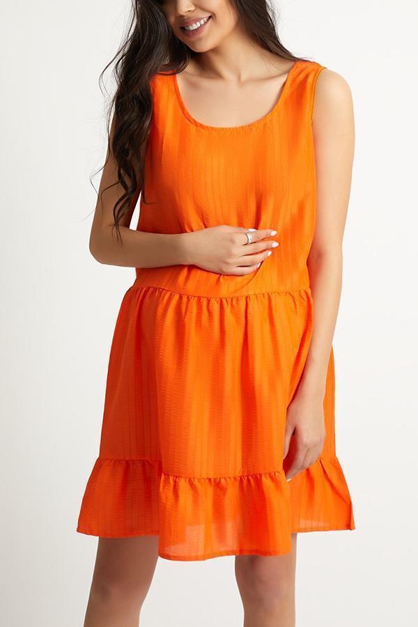 Maternity Orange Sleeveless Mini Dress