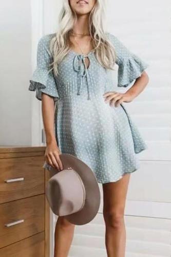 Maternity Casual Printed Holiday Beach Dress