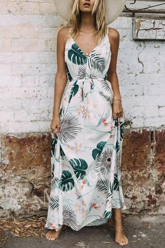 Maternity Dress Leaf Print Maxi Dress Summer Casual V Neck Resort Elegant Beach Pregnancy Clothes