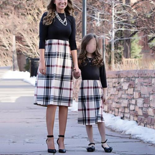 Casual Splicing Check Midi Mother and Daughter Dress