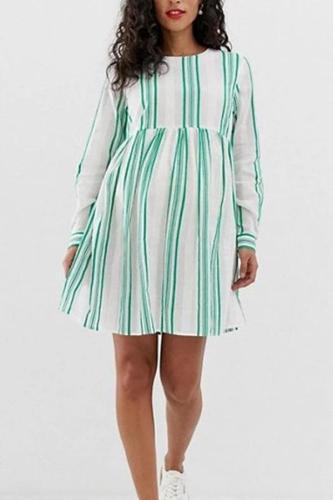 Maternity Casual Round Neck Long Sleeve Stripe Mini Dress