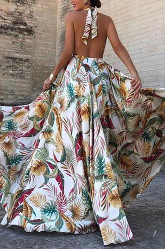 Sexy V Neck Sleeveless Printed Colour Bare Back Dress