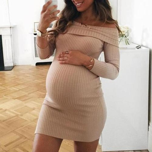 Women's Maternity Boat Neck Long Sleeve High-Waist Slim Dress