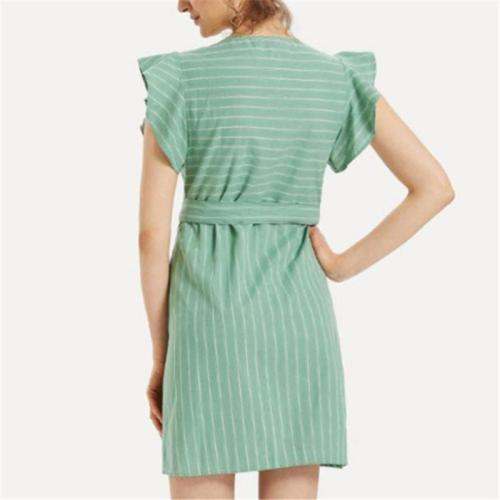 Maternity Women's V-Neck Ruffled Striped Dress