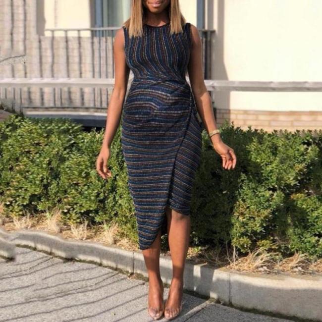 Maternity Elegant Striped Round Neck Sleeveless Irregular Dress